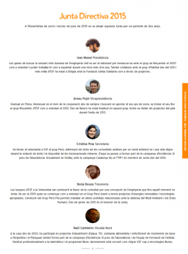 Capítol sobre la Junta directiva a la Memòria 2015 d'Enginyers sense Fronteres (ESF). Font: ESF