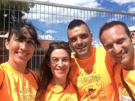 D'esquerra a dreta, Marimar De Heras, Lourdes Bonet, Isidro Naranjo i Lluís Fontseca, l'equip organitzador de la Milla. Font: AMPA Escola Monmany