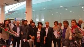 Leila Khaled arribada a l'aeroport de Bcn