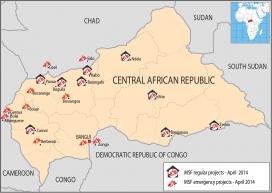 Mapa de la RCA i centres de MSF al país (Font: MSF)