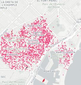 Mapa d'habitatges turístics a Ciutat Vella