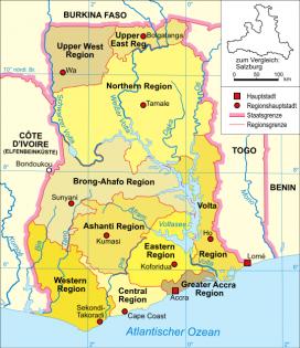 Mapa de Ghana. Font: Wikimedia
