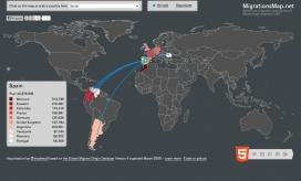 Mapa sobre la immigració cap a Espanya
