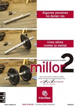 Cartell de la campanya de Càritas per animar a la ciutadania a marcar les dues caselles de la declaració de la renda