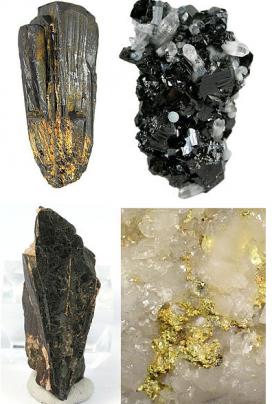 4 dels anomenats minerals de sang, utilitzats per fabricar dispositius electrònics. Imatge de Rob Lavinsky. Llicència d'ús CC BY SA 30