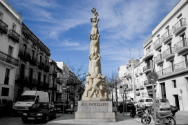 Imatge del monument als castellers a Vilafranca