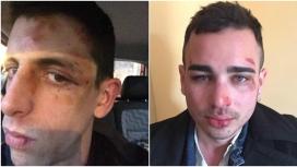 La parella que va ser agredida després que es fes un petó. Font: Twitter