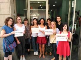 Membres de la CCAR demanant l'obertura de fronteres amb motiu de la manifestació del 17J