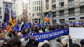 Manifestació de la Plataforma Obrim Fronteres a Barcelona demanant l'acollida de persones refugiades.