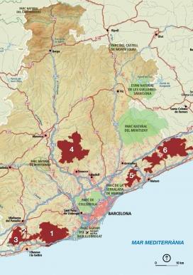 Mapa de les àrees que participen a Parc a Taula (imatge: diba.cat)