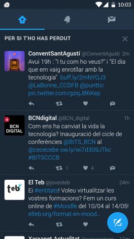 """Una d'aquestes opcions de Twitter, és la secció """"Per si t'ho has perdut..."""" amb tot de piulades del vostre interès, segons l'algoritme de mostra."""