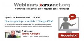 """Anunci del webinar """"Eines de gestió per a entitats I. Sinergia CRM"""""""