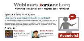 Pop-up del webinar sobre gestió del voluntariat