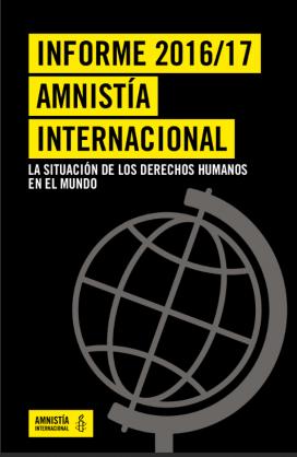 La portada de l'informe del 2016/2017. Font: Amnistia Internacional