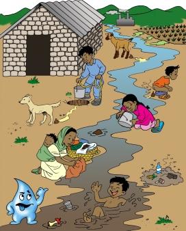 Pòster per ensenyar a la gent del sud d'Àsia les causes de la contaminació de l'aigua dels rius. Font: Wikipedia