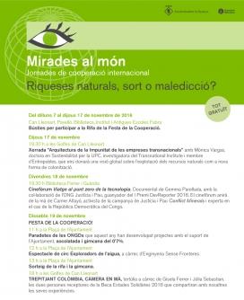 Programa de les 9es Jornades de Cooperació Internacional Mirades del Món. Font: Ajuntament d'Alella