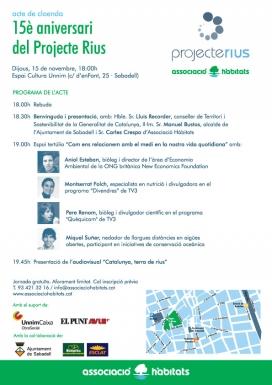 Programa de l'acte de cloenda del 15è aniversari del Projecte Rius