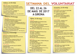 Programa de la 4a edició de la Setmana del voluntariat a Girona