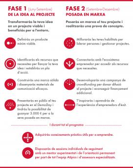 Fases del programa d'emprenedoria Atípics. Font: Plana web d'Atípics