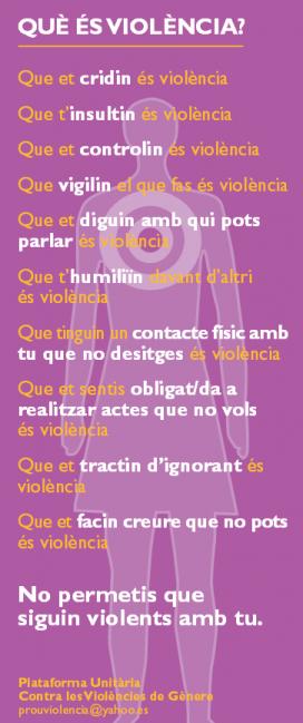 Què és violènca? Material de la Plataforma
