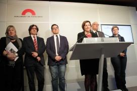 """La presidenta del Parlament, Carme Forcadell, va afirmar en l'acte de presentació que aquesta iniciativa representava la """"culminació de l'aplicació de la Llei de transparència"""". Font: Parlament de Catalunya"""
