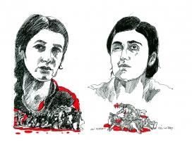 Retrat en dibuix de les guanyadores del Premi. Font: Ali Ferrat, Unió Europea