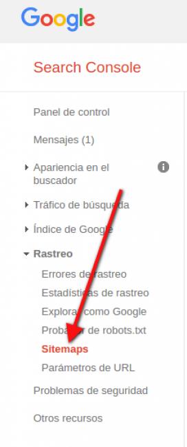 """Google Search Console té una secció per afegir i comprovar l'estat del vostre """"sitemaps"""""""