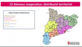 Mapa que mostra el repartiment dels nous ateneus a Catalunya. Font: Departament de Treball de la Generalitat