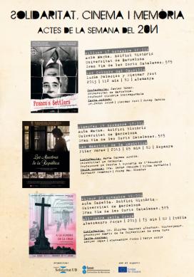 """Cartell del cicle """"Solidaritat, Cinema i Memòria"""" a la UB"""