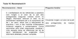 Taula extreta de l'Informe