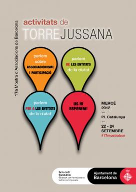 Cartell de les activitats Torre Jussana a la Mostra d'Associacions de la Mercè