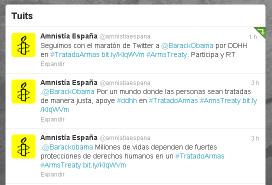 Captura del compte de Twitter d'Amnistia Internacional Espanya