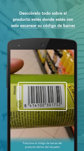 Captura de pantalla de l'aplicació escanejant el codi de barres d'una llauna