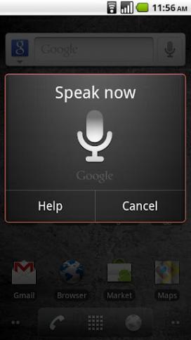 Imatge d'un mòbil fent servir Voice Search