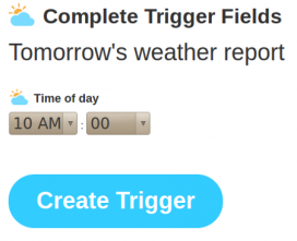 Amb el trigger podem configurar quant volem l'informe de la previsió del temps.