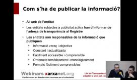 """Webinar """"Com complir amb la Llei de Transparència?"""". Font: Captura de pantalla de xarxanet.org/webinars"""