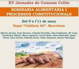 Les XV Jornades de Consum Crític tindran lloc del 9 a l'11 de març a Barcelona. Font: Xarxa de Consum Solidari