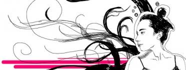 Il·lustració que mostra una noia i dibuixos abstractes. Imatge CC BY 2.0 de gatudo (Flickr)