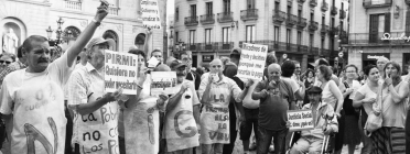 Persones reclamant renda mínima. Font: Assemblea d'Aturats de Barcelona