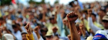 Un puny s'alça entre la multitud en una protesta.