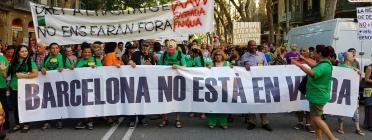 Una manifestació de la Plataforma Barcelona No Està en Venda l'any passat