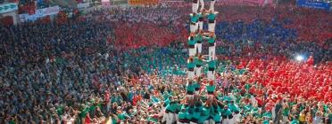 Imatge dels castellers de Vilafranca durant el Concurs