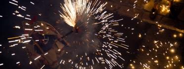Imatge del correfoc de la festa major de Sitges