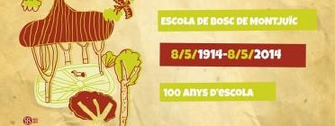 Cartell del centenari de l'Escola de Bosc de Montjuic