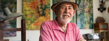 Miquel Duran, 'el Pintor de Les Preses' al seu estudi personal Font: Toni Galitó