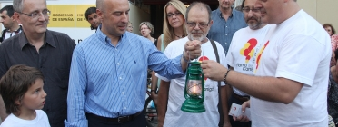 Recepció de la Flama a la Paeria de Lleida, amb el Club Ciclista Terra Ferma