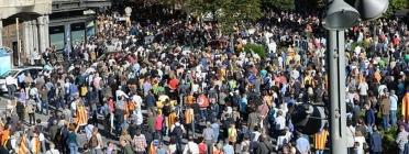 Mobilitzacions socials a Barcelona contra la repressió a les institucions catalanes.