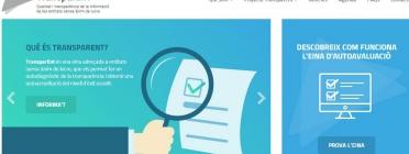 Visualització de la pàgina inicial de TransparENT, l'eina de transparència per a entitats ja disponible.
