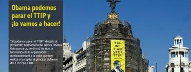 Imatge del cartell contra el TTIP exposat a un edifici de Madrid durant la visita de Obama (imatge:greenpeace.org/españa)