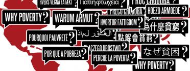 Why Poverty? (Per què la pobresa?) escrit en diferents idiomes del món